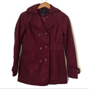 Forever 21 Pea Coat Double Breasted Sz S Burgundy